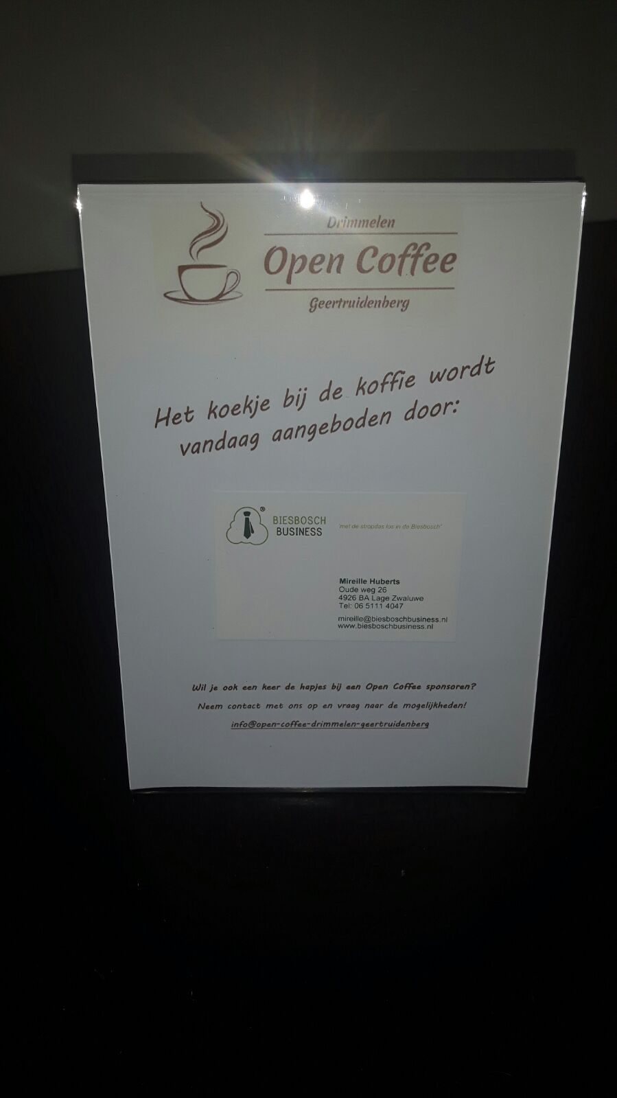 Sponsorbord Open Coffee